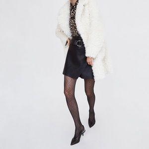 Zara NWT Leather A-Line Wrap Skirt